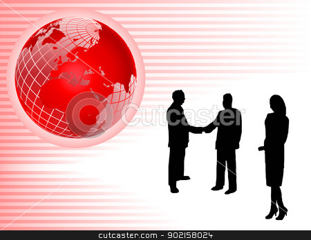 Abstract Red Global Business Background stock vector clipart, An abstract red background with a wiremesh globe on a pink striped base with sillhouetted business people with room for text by Mike Price