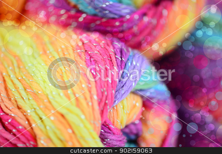 Bright abstract composition of yarn stock photo, Bright abstract composition of yarn. Decorated bokeh by lermannika