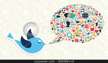 Social media marketing twitter bird concept stock vector clipart, Blue bird cartoon and social media icon set in speech bubble shape. Vector file layered for easy manipulation and custom coloring. by Cienpies Design