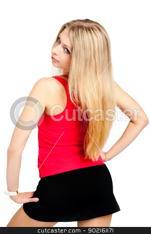 Pretty girl stock photo, Pretty adult girl with perfect forms, back view by Aikon