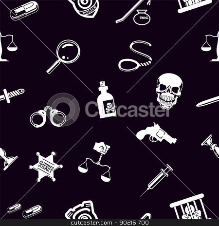 Seamless tools background texture stock vector clipart, A repeating seamless crime, law or legal background tile texture with lots of icons of different items related to crime and law enforcement by Christos Georghiou