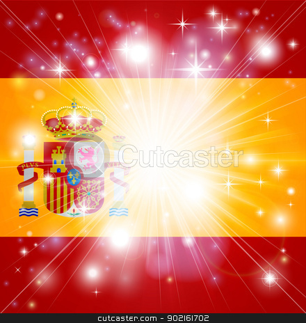 Spanish flag background stock vector clipart, Flag of Spain background with pyrotechnic or light burst and copy space in the centre by Christos Georghiou