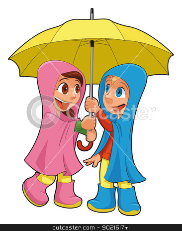 Boy and girl under the umbrella. stock vector clipart, Boy and girl under the umbrella. Vector isolated characters by ddraw