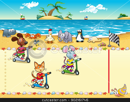 Competition in Beach. stock vector clipart, Competition in Beach. Cartoon and vector illustration, isolated objects by ddraw