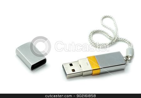 silver usb flash  stock photo, silver usb flash  on white background  by Vitaliy Pakhnyushchyy