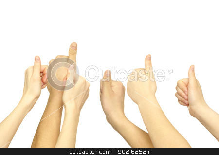 hand lifted up  stock photo, Many hand lifted up on white background by Vitaliy Pakhnyushchyy