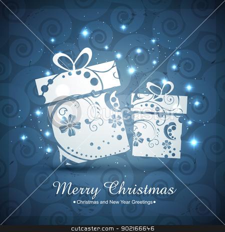artistic christmas gift box stock vector clipart, vector artistic merry christmas gift box design by pinnacleanimates