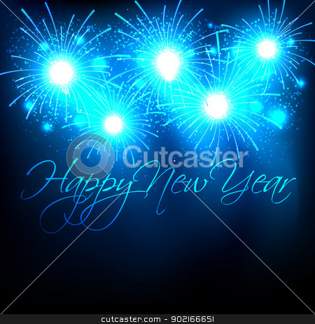 new year design stock vector clipart, new year celebration with fireworks by pinnacleanimates