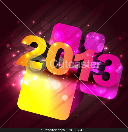 shiny new year design stock vector clipart, stylish 2013 happy new year vector design by pinnacleanimates