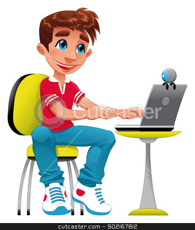 Boy and computer. stock vector clipart, Boy and computer. Funny cartoon and vector character by ddraw
