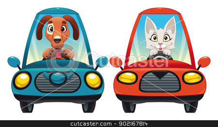 Animals in the car: Dog and Cat. stock vector clipart, Animals in the car: Dog and Cat. Funny cartoon and vector isolated characters. by ddraw