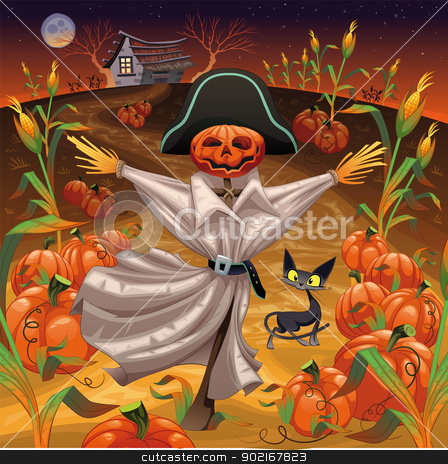 Scarecrow with pumpkins. stock vector clipart, Scarecrow with pumpkins. Funny cartoon and vector illustration. Isolated objects by ddraw