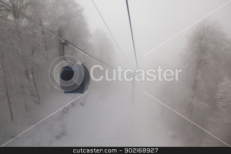 Ski lift stock photo, A ski lift with a fog day in Sochi by Mola Kaliva