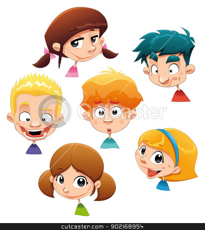 Set of different character expressions. stock vector clipart, Set of different character expressions. Funny cartoon and vector illustration. Isolated objects.   by ddraw