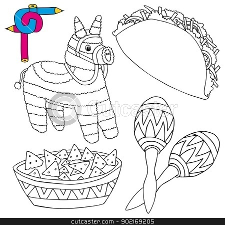Coloring image Mexico collection 02 stock vector clipart, Coloring image Mexico collection 02 - vector illustration. by connynka