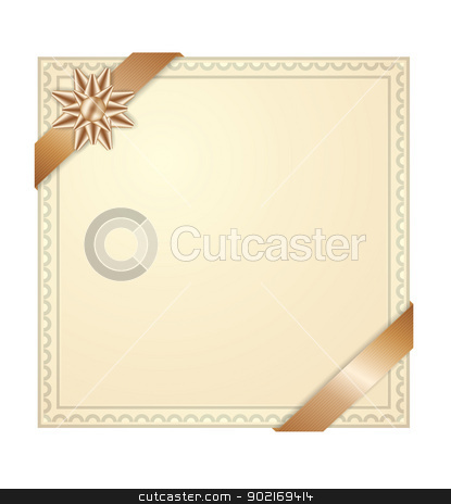 Invitation card stock vector clipart, Invitation card with golden corner ribbons and bow by antkevyv
