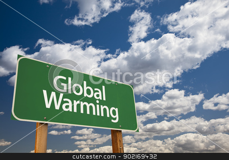 Global Warming Green Road Sign stock photo, Global Warming Green Road Sign Over Dramatic Clouds and Sky. by Andy Dean