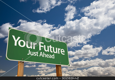 Your Future Green Road Sign stock photo, Your Future Green Road Sign Over Dramatic Clouds and Sky. by Andy Dean