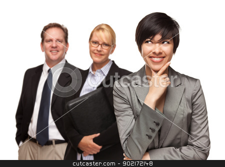 Businesswoman with Team Portrait on White stock photo, Attractive Businesswoman Smiling with Team Isolated on a White Background. by Andy Dean
