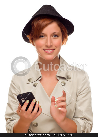 Smiling Young Woman Holding Smart Cell Phone on White stock photo, Smiling Young Woman Holding Smart Cell Phone Isolated on a White Background. by Andy Dean