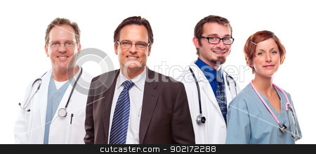 Smiling Businessman with Doctors and Nurses stock photo, Smiling Businessman with Male and Female Doctors or Nurses Isolated on a White Background. by Andy Dean