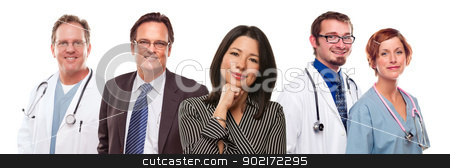 Hispanic Woman with Businessman and Male Doctors or Nurses stock photo, Attractive Hispanic Woman with Businessman and Male Doctors or Nurses Isolated on a White Background. by Andy Dean