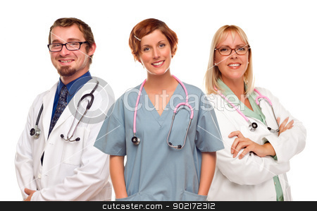 Group of Doctors or Nurses on a White Background stock photo, Group of Doctors or Nurses Isolated on a White Background. by Andy Dean