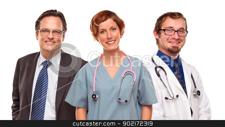 Group of Doctors or Nurses and Businessman on White stock photo, Small Group of Doctors or Nurses and Businessman Isolated on a White Background. by Andy Dean