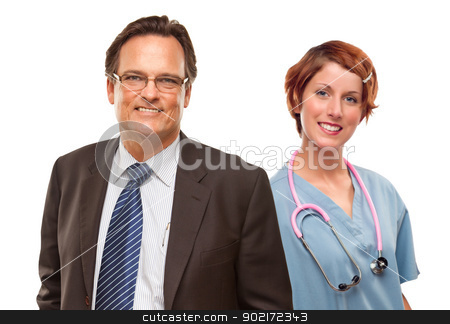 Smiling Businessman with Female and Doctor and Nurse stock photo, Smiling Businessman with Female Doctor or Nurse Isolated on a White Background. by Andy Dean