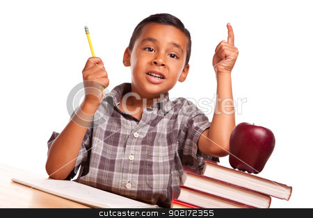 Hispanic Boy Raising His Hand, Books, Apple, Pencil and Paper stock photo, Adorable Hispanic Boy Raising His Hand Sitting with Books, Apple, Pencil and Paper Isolated on a White Background. by Andy Dean