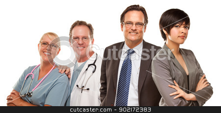 Mixed Race Women and Businessman with Doctors or Nurses stock photo, Attractive Mixed Race Women and Businessman with Doctors or Nurses Isolated on a White Background. by Andy Dean