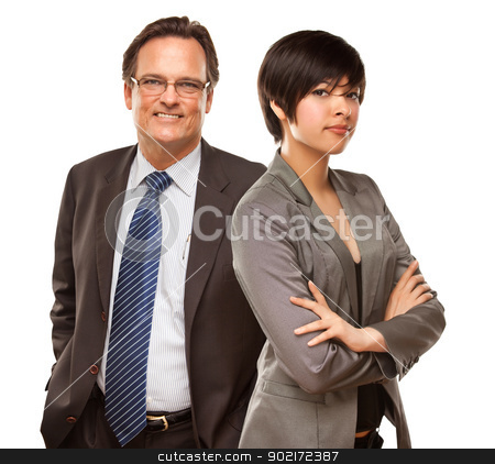 Attractive Businesswoman and Businessman on White stock photo, Attractive Businesswoman and Businessman Isolated on a White Background. by Andy Dean