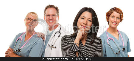 Hispanic Woman with Male and Female Doctors or Nurses stock photo, Attractive Hispanic Woman with Male and Female Doctors or Nurses Isolated on a White Background. by Andy Dean