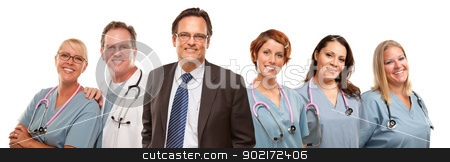 Friendly Male and Female Doctors with Businessman on White  stock photo, Small Group of Doctors or Nurses and Businessman Isolated on a White Background. by Andy Dean