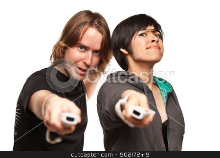 Mixed Race Couple Playing Video Game Remotes on White stock photo, Fun Happy Mixed Race Couple Playing Video Game Remotes Isolated on a White Background. by Andy Dean