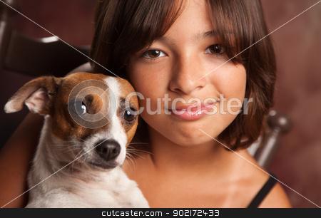 Pretty Hispanic Girl and Her Puppy Studio Portrait stock photo, Pretty Hispanic Girl and Her Jack Russell Terrier Puppy Studio Portrait. by Andy Dean