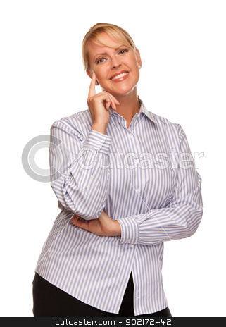 Attractive Blond Woman Isolated on White stock photo, Attractive Smiling Blond Woman Isolated on a White Background. by Andy Dean