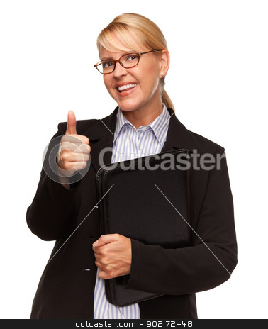 Attractive Blond Businesswoman with Thumbs Up Isolated on White stock photo, Attractive Businesswoman with Thumbs Up Isolated on a White Background. by Andy Dean