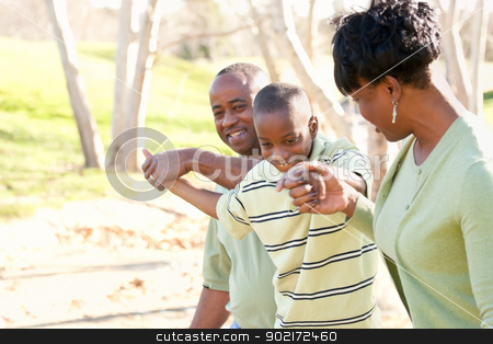 Beautiful African American Family Playing Outside stock photo, Beautiful African American Family Playing Outside at the Park. by Andy Dean