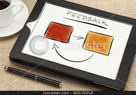 feedback concept stock photo, sketch of feedback diagram or flowchart on a tablet computer screen with a coffee cup and stylus pen by Marek Uliasz