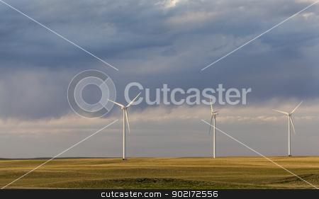 wind turbines in Colorado prairie stock photo, wind turbines  generating electricity in Pawnee Grassland in north eastern  Colorado by Marek Uliasz