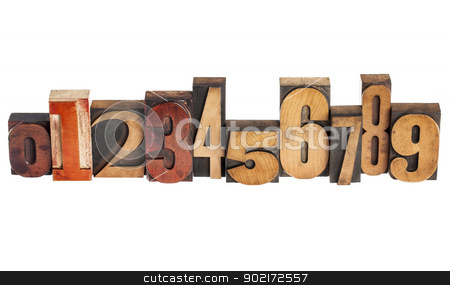 numbers in wood type stock photo, ten arabic numerals zero to nine in isolated vintage wood letterpress printing blocks, variety of fonts by Marek Uliasz