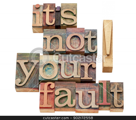 it is not your fault stock photo, it is not your fault - isolated words in vintage letterpress wood type printing blocks by Marek Uliasz