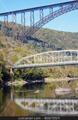 Bridges on New River in West Virginia stock photo, Old and new - Bridges on New River in West Virginia by Henryk Sadura
