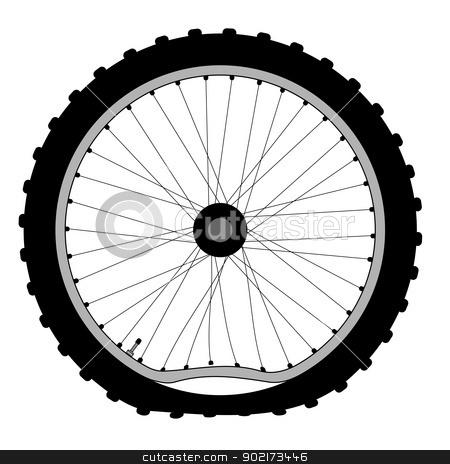 Buckled Bicycle Wheel stock vector clipart, A buckled bicycle wheel and knobly tyre. by Kotto