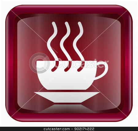 Coffee cup icon dark red, isolated on white background stock photo, Coffee cup icon dark red, isolated on white background by Andrey Zyk