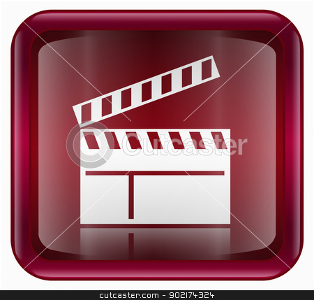 movie clapper board icon red stock photo, movie clapper board icon red, isolated on white background. by Andrey Zyk