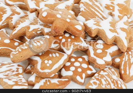 christmas gingerbreads on white background stock photo, homemade christmas gingerbreads on white background by Artush