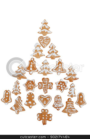 gingerbreads arranged as christmas tree stock photo, gingerbreads arranged as christmas tree on white background by Artush