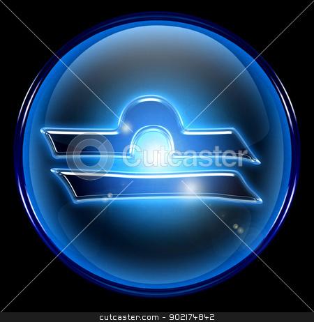 Libra zodiac button icon, isolated on black background. stock photo, Libra zodiac button icon, isolated on black background. by Andrey Zyk
